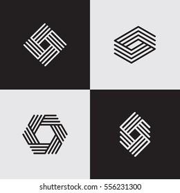 Modern line logos. Creative geometric shapes. Eps10 vector.