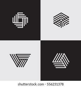 Modern line logos. Creative geometric shapes. Eps10 vector.