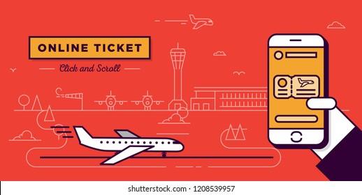 Modern Line Style Plane Ticket Web Header