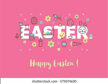 Modern line vector Easter illustration. Website banner or header. Egghunt invitation. Ostern sunday spring celebration.