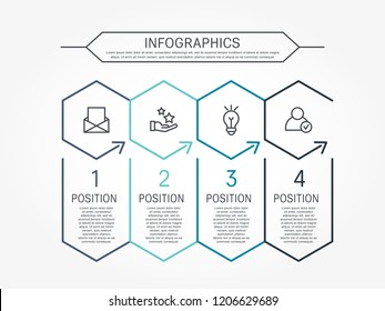Modern line vector illustration. Infographic template with four elements, hexagons and text. Timeline step by step. Designed for business, presentations, web design, diagrams, training with 4 steps.