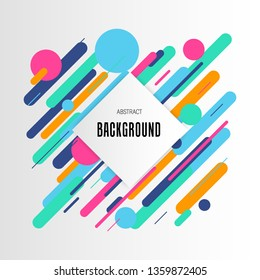 Modern linear colorful pattern on white backdrop. Trendy abstract background with rhombus copy space. Vector design element in flat style. Futuristic space concept for any purpose.
