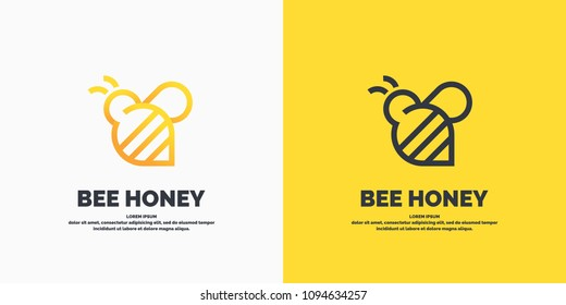 Modern linear logos for beekeepers. The stickers on the products of the apiary. Stylish vector label for bee honey.