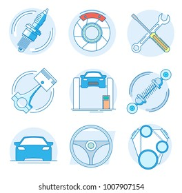 Modern linear pictogram of auto parts. Icons of auto parts. Automotive services auto parts. Computer diagnostics of the car. Perfect for website, mobile apps, catalogue, booklet, promotional products