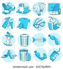 Modern linear pictogram of garbage. Set of concept line icons garbage. Garbage icons. Waste garbage metal, glass, paper, plastic, food, electronics, organics. Sorting of waste.
