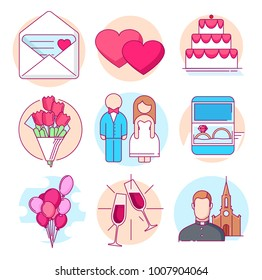 Modern linear pictogram of wedding. Icons of wedding. ?ake. Wedding mood. Wedding couple. Rings. Perfect for website, mobile apps, catalogue, booklet, promotional products