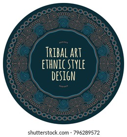 Modern linear style geometrical tribal logo template and pattern brush. Perfect emblem or sticker.