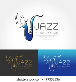 Modern linear thin flat design. The stylized image of saxophone. Jazz music festival logo Template for covers, logo, posters, invitations on white background Vector illustration