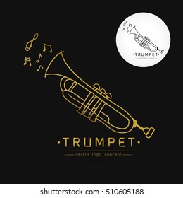 Modern linear thin flat design. The stylized image of trumpet. classical music festival logo Template for covers,logo, posters, invitations on white background Vector illustration