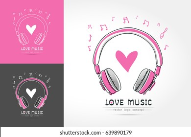 Modern linear thin flat design. The stylized image of Headphone with heart. music festival logo Template for covers, logo, posters, invitations on white background Vector illustration