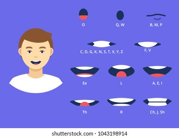 Modern lip sync cartoon collection for animation. Flat style vector illustration isolated on background