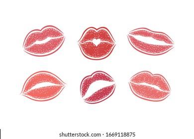Modern Lips prints on a white background. Vector set of womans girl lipstick kiss mark.