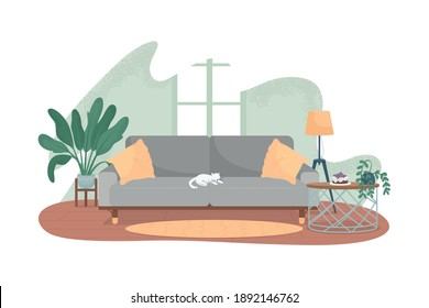 Modern living room 2D vector web banner, poster. Cat on grey sofa. Cosy living area. Contemporary apartment flat scene on cartoon background. Home recreation printable patch, colorful web element