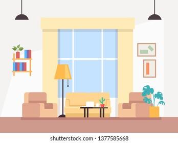 Modern living room interior concept. Vector flat graphic design illustration