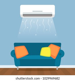 Modern living room with sofa and air conditioning with air cooling. The concept of home climate control. Flat vector illustration isolated on a light background