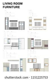 Modern living room vector furniture, range of 4 sets of miniature models compositions. TV stands, highboards, lowboards, shelves, decorative vitrines