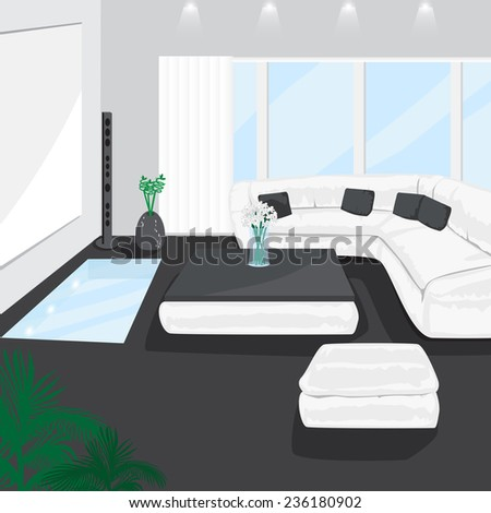 modern living room vector illustration graphic stock vector (royalty