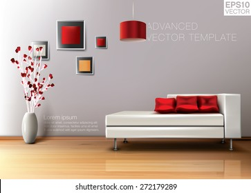 Modern living room with white leather sofa and red pillows. High quality vector template