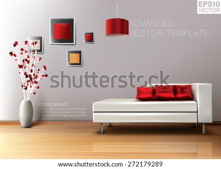 modern living room white leather sofa stock vector royalty free