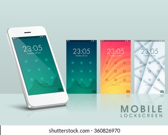 Modern Lock Screen UI, UX and GUI template layout in different patterns and colors for E-commerce, Responsive Website and Mobile Apps.