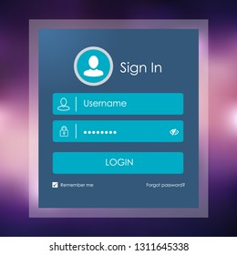 Modern Login form page. Website UI vector elements. - Vector Illustration with Blurry Background