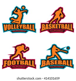Modern logo for basketball, baseball, volleyball, football tournament events