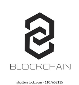 Modern logo concept for blockchain and distributed ledger technology. Blockchain text and icon.