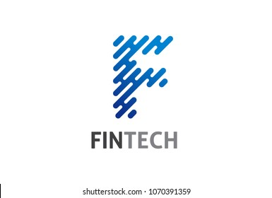 Modern logo concept design for fintech and digital finance technologies, icon and symbol