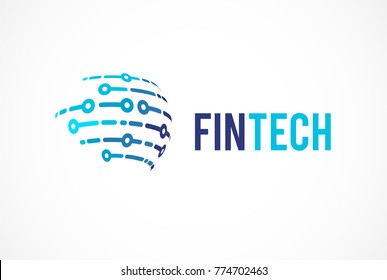 Modern logo concept for global  fintech and digital finance industry