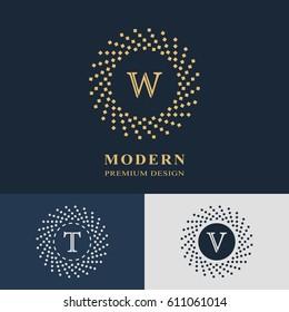 Modern logo design. Geometric linear monogram template. Letter emblem W, T, V. Mark of distinction. Universal business sign for brand name, company, business card, badge. Vector illustration