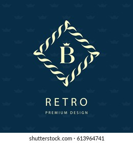 Modern logo design. Geometric monogram template. Letter emblem B. Mark of distinction. Universal business sign for brand name, company, business card, badge. Vector illustration