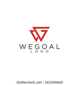 Modern logo design of triangle and letter WG with white background - EPS10 - Vector.