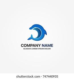 modern logo dolphin vector graphic design