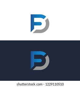 Modern logo letter FD, Creative Luxury Style FD initial logo, minimalist logo
