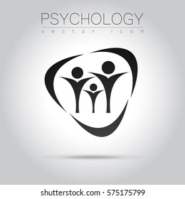 Modern logo  people psi Sign of Psychology. Family Human. Creative style. Icon in vector. Black grey color isolated on background. Symbol for web, print, logotype. Education icon sign