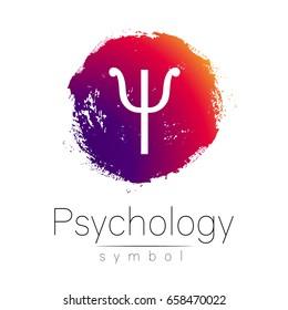 Modern logo of Psychology. Pink color blot and letter on white background. Symbol for web, print, card, flyer. Brush stroke.