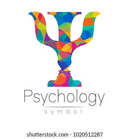 Modern logo of Psychology. Psi. Creative style. Logotype in vector. Design concept. Brand company. Riunbow bright colors letter on white background. Symbol for web, print, card, flyer