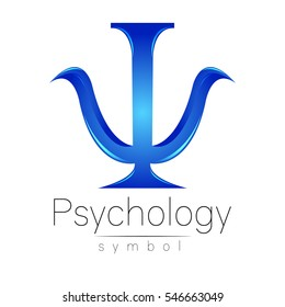 Modern logo of Psychology. Psi. Creative style. Logotype in vector. Design concept. Brand company. Blue color letter on white background. Symbol for web, print, card, flyer.