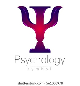 Modern logo of Psychology. Psi. Creative style. Logotype in vector. Design concept. Brand company. Violet color letter on white background. Symbol for web, print, card, flyer