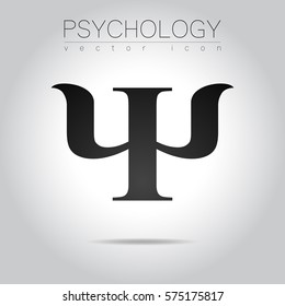 Modern logo of Psychology. Psi. Creative style. Logotype in vector.  Black color letter on grey background. Symbol for web, print, card. Education icon sign