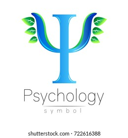 Modern logo of Psychology. Psi. Creative style. Logotype in vector. Design concept. Brand company. Blue color letter with green leaves on white background. Symbol for web, print, card, flyer.
