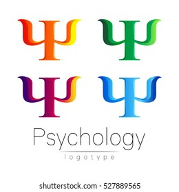 Modern logo Set of Psychology. Psi. Creative style. Logotype in vector. Design concept. Green blue violet orange color letter on white background. Symbol for web, print, card, flyer.