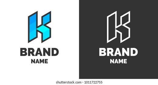 Modern logo and sign the letter K. Vector illustration.