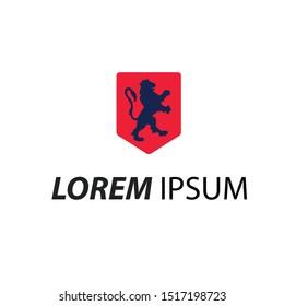 modern logo stand lion blue colour.-illustration