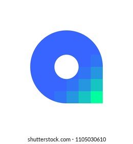 Modern logo template or icon of abstract letter A with pixelated corner
