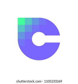 Modern logo template or icon of lowercase letter C with pixelated corner for cryptocurrency industry