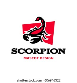 Modern logo template with the image of the red scorpion. Logo. Mascot.