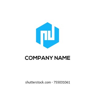 modern logo vector blue color. lettering from alphabet pd