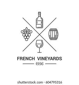 Modern logo for wine and winery. Vector outline illustration with wine bottle, grape, wine barrel and wineglass, isolated on white