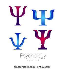 Modern logotype Sign Set of Psychology. Icon in vector.  Logo blue violet color letter on white background. Symbol for web, print, card.